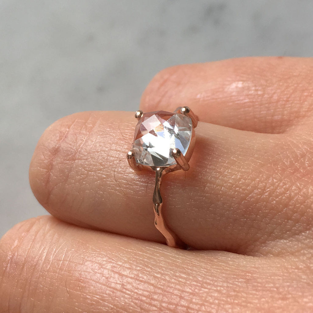 6b5a183ca22f7 Twig Engagement Ring Twig Ring in 9 carat gold with Cushion Cut White Topaz