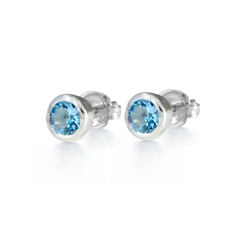 Birthstone Earrings - Aquamarine with Rubover Setting
