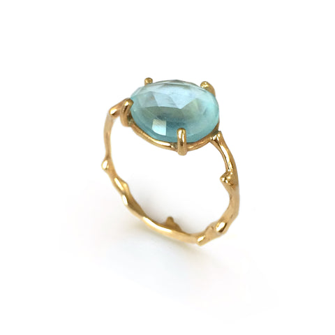 Twig Ring with Unique Rose cut Blue Topaz