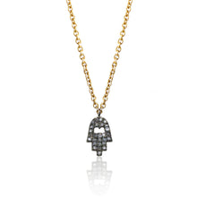 Load image into Gallery viewer, Diamond Charm Necklace Hamsa Hand