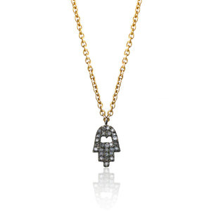 Diamond Charm Necklace Hamsa Hand