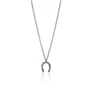 Diamond Charm Necklace - Horseshoe Pendant