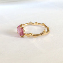 Load image into Gallery viewer, Twig Ring in solid gold with rose cut pink Ceylon sapphire