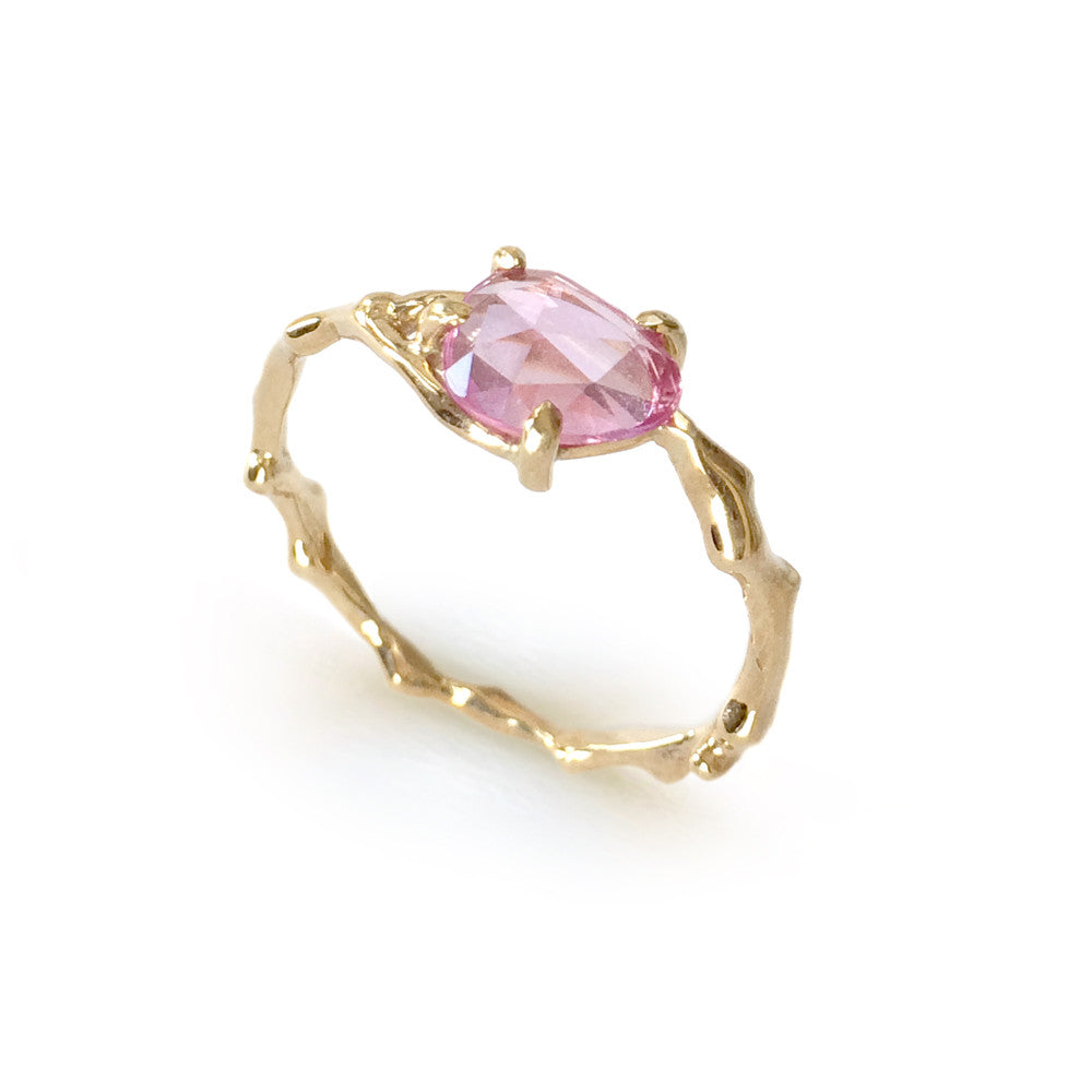 Twig Ring in solid gold with rose cut pink Ceylon sapphire