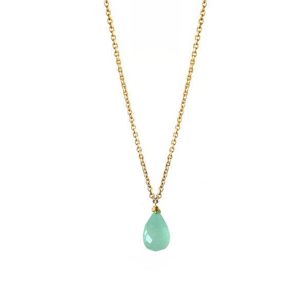 Peruvian Aqua Chalcedony Drop Necklace