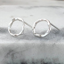 Load image into Gallery viewer, Twig Circle Stud Earrings in sterling silver - medium