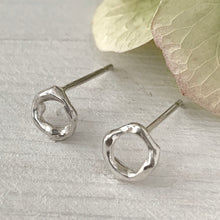 Load image into Gallery viewer, Twig Circle Stud Earrings in sterling silver - small