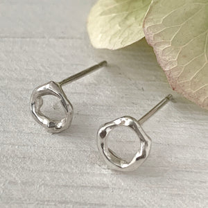 Twig Circle Stud Earrings in sterling silver - small