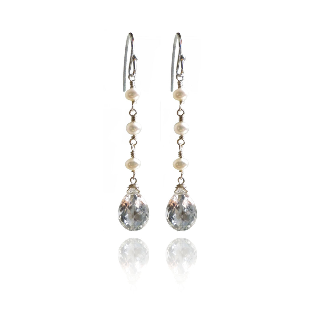 Grace - Freshwater Pearl and Crystal Quartz drop earrings