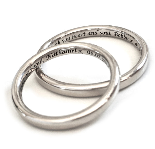 Personalised Silver Classic Band Ring with Custom Engraving
