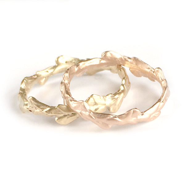 Conifer Leaf Wedding Ring in 9 carat gold