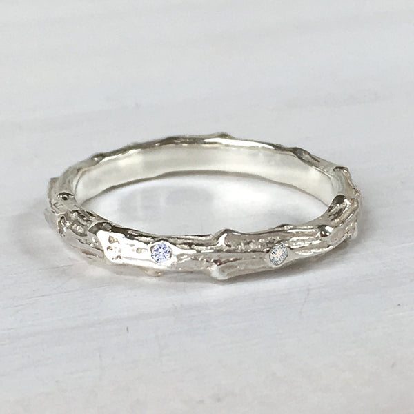 Cypress Twig Diamond Eternity Ring in Sterling Silver
