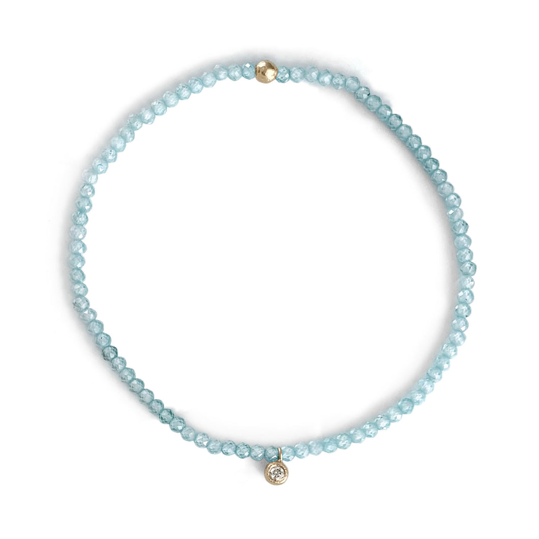 Gemstone Beaded Bracelet with Gold and Diamond Charm