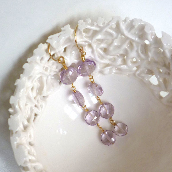 Gatsby - pink amethyst earrings