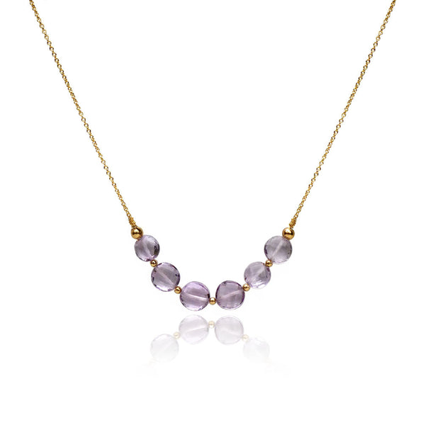 Gatsby - pink amethyst curve necklace