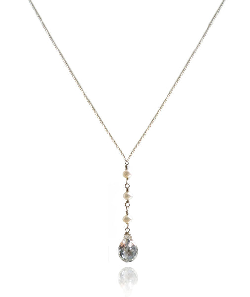 Grace - Freshwater Pearl and Crystal Quartz drop necklace