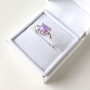 Twig Statement Ring with Cushion Cut Amethyst