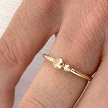 Load image into Gallery viewer, Gold Stacking Ring with Two Solid Gold Beads