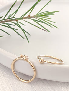 Gold Stacking Ring with Two Solid Gold Beads