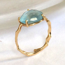 Load image into Gallery viewer, Twig Ring with Unique Rose cut Blue Topaz