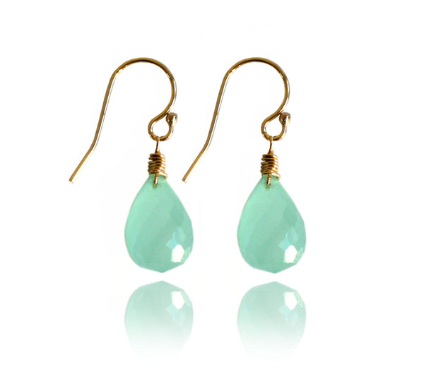 Peruvian Aqua Chalcedony drop earrings