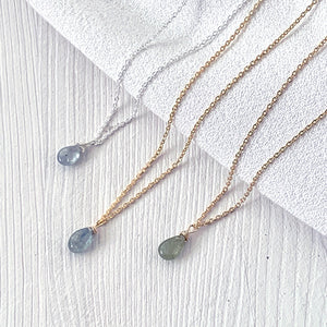 Sapphire Smooth Briolette Drop Necklace with Silver Chain