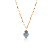 Load image into Gallery viewer, Sapphire Smooth Briolette Drop Necklace with Gold Chain