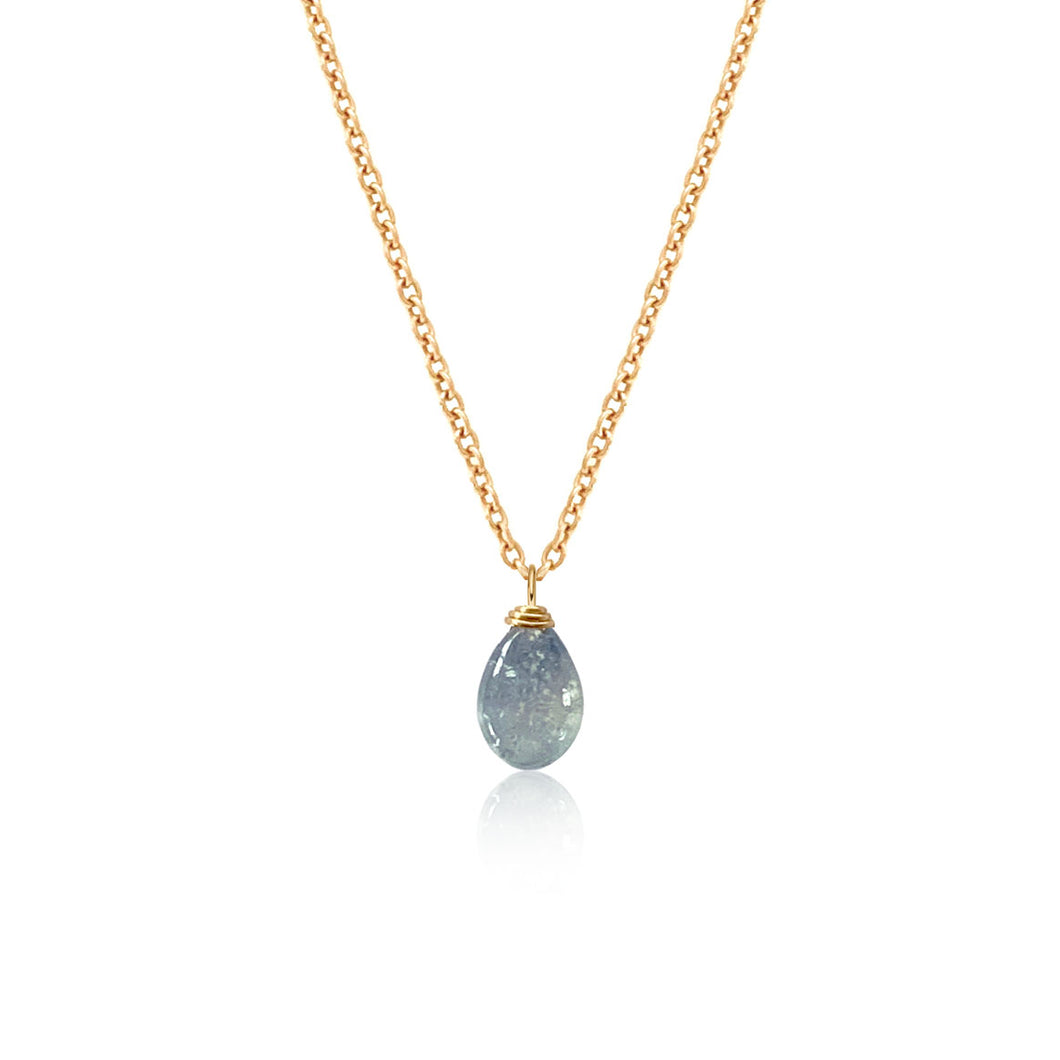 Sapphire Smooth Briolette Drop Necklace with Gold Chain