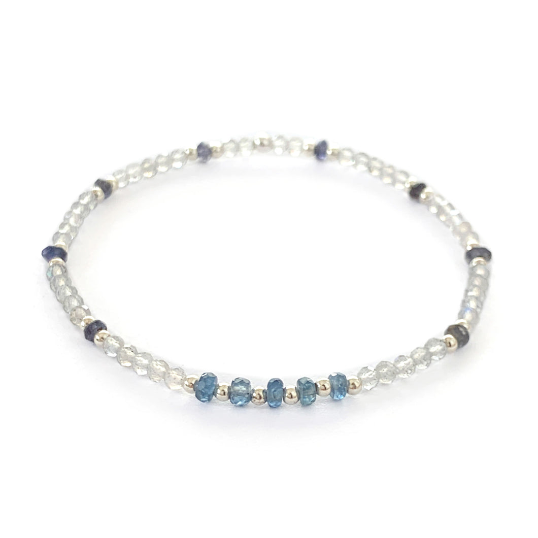 Blue Sapphire, Labradorite and Iolite Bracelet with Sterling Silver Beads