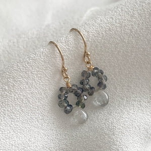 Sapphire Earrings Teal Blue Songea Sapphires and Silver Grey Sapphire Drops