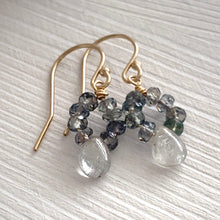 Load image into Gallery viewer, Sapphire Earrings Teal Blue Songea Sapphires and Silver Grey Sapphire Drops