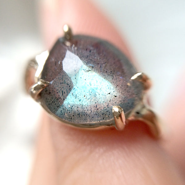 Twig Ring with Unique Rose cut Labradorite