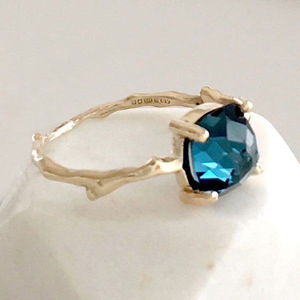 Twig Statement Ring in 9 carat gold with Cushion Cut London Blue Topaz