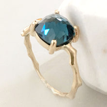 Load image into Gallery viewer, Twig Statement Ring in 9 carat gold with Cushion Cut London Blue Topaz