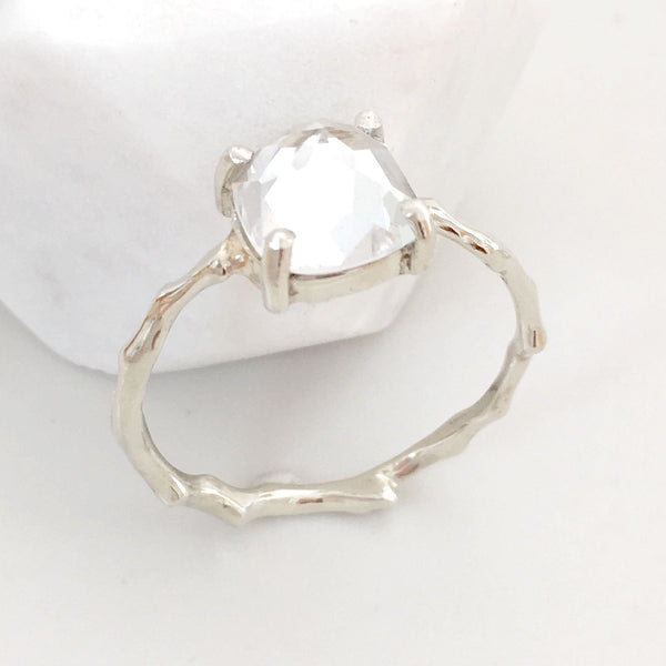 Twig Engagement Ring Twig Ring in 9 carat gold with Cushion Cut White Topaz