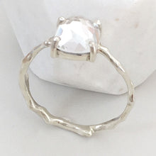 Load image into Gallery viewer, Twig Engagement Ring Twig Ring in 9 carat gold with Cushion Cut White Topaz