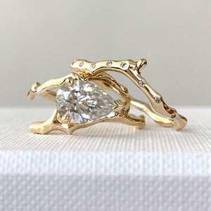 Twig Engagement Ring in 18 Carat Gold and Pear Cut Diamond