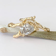 Load image into Gallery viewer, Twig Engagement Ring in 18 Carat Gold and Pear Cut Diamond