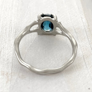 Twig Ring with London Blue Topaz Oval Cabochon in 14 carat Gold