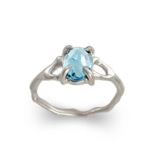 Load image into Gallery viewer, Twig Ring with London Blue Topaz Oval Cabochon in 14 carat Gold