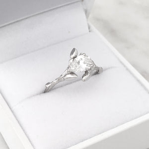 pear shape twig engagement ring