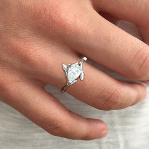 Willow Twig Engagement Ring in 18 carat Gold with Pear Cut Lab Grown Diamond