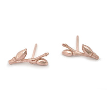 Load image into Gallery viewer, Willow Twig ear studs with buds and woodgrain texture