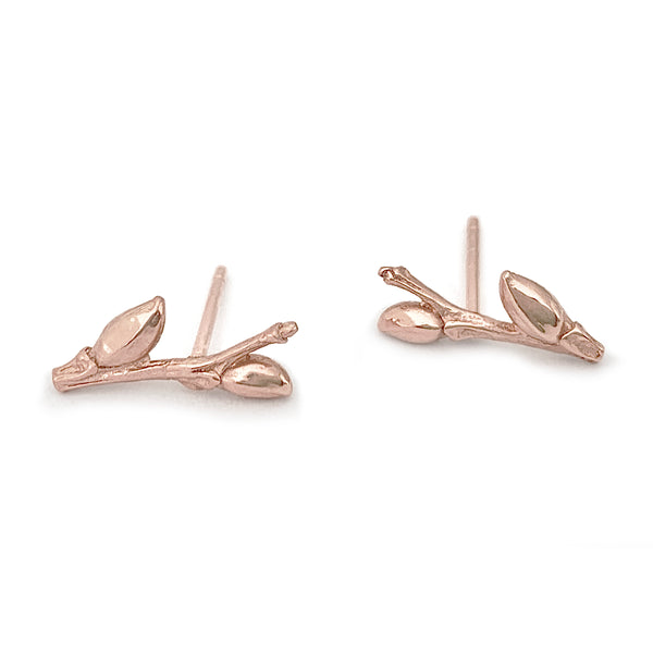 Willow Twig ear studs with buds and woodgrain texture