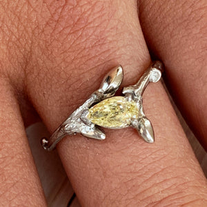 Twig Ring with Yellow Pear Diamond
