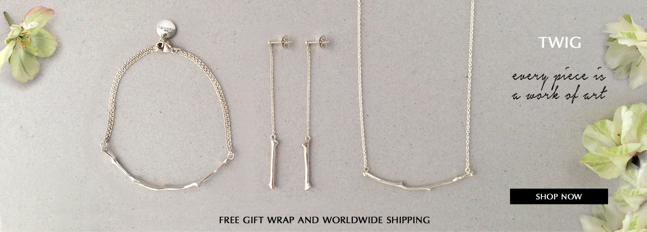 Oak Twig Collection in Sterling Silver