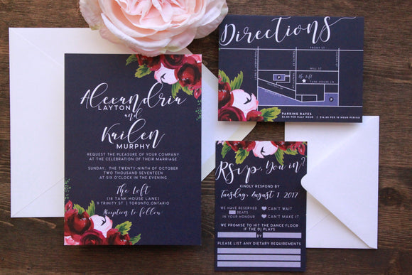 The Alexandria | Navy Floral Wedding Invitation Suite