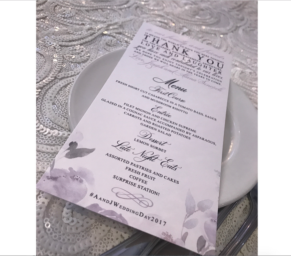 Menu Card | The Alana