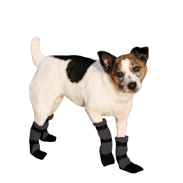 Black polar fleece booties with Mega Grip bottom for a Jack Russell Terrier