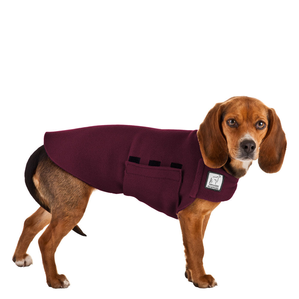 Voyagers K9 Apparel Beagle Tummy Warmer (Burgundy Polartec Polar Fleece Coat)